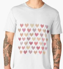 Colorful Knitted Hearts Men's Premium T-Shirt