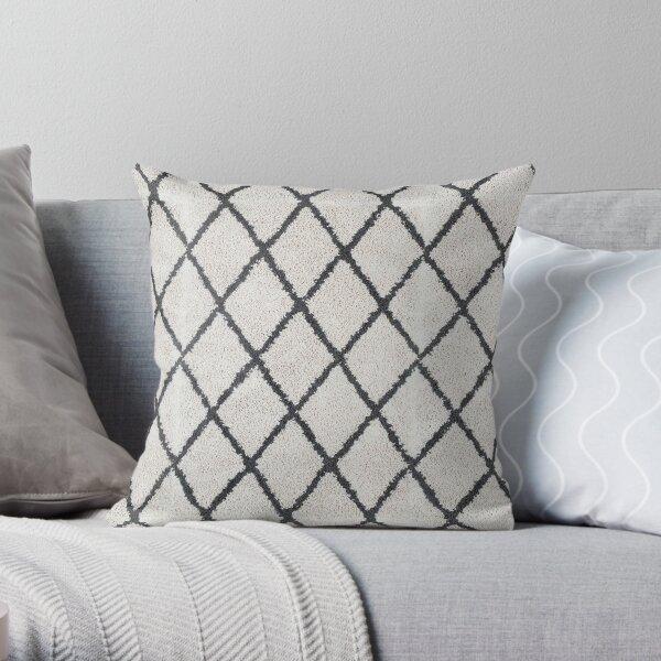 Berber Shaggy Rug Geometric black and white | Texture Beni Ourain Throw Pillow