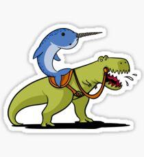 Narwhal Riding T-Rex Dinosaur Funny Cartoon Jungle Sticker
