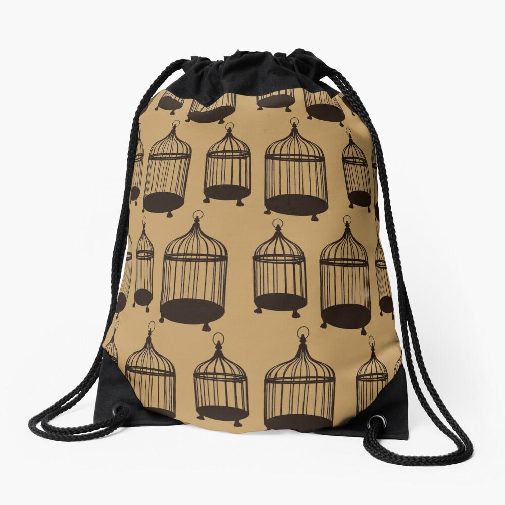 Brown Bird Cage Pattern Drawstring Bag Front