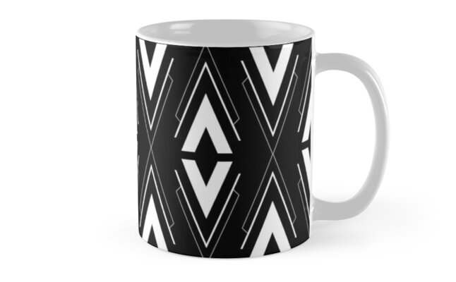 Scandinavian Aztec Pattern Black and White by MyArt23