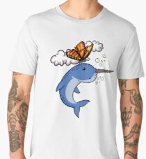 Butterfly And Narwhal Fish Funny Colorful Cartoon Men's Premium T-Shirt