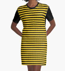 Black and Yellow Bee | Stripes | Halloween Outfit Graphic T-Shirt Dress