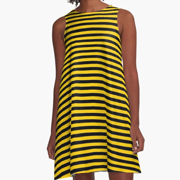Black and Yellow Bee   Stripes   Halloween Outfit A-Line Dress