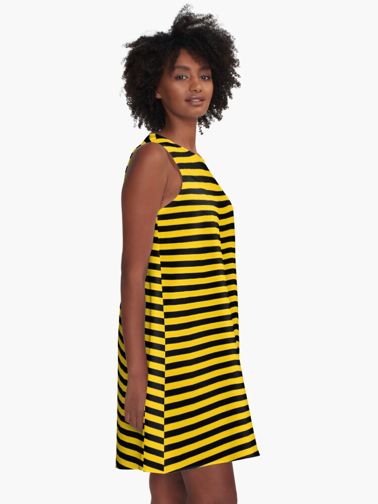 Alternate view of Black and Yellow Bee | Stripes | Halloween Outfit A-Line Dress