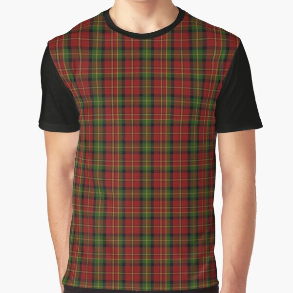 Red and Green Flannel Plaid  | Scottish Clan Tartan Graphic T-Shirt