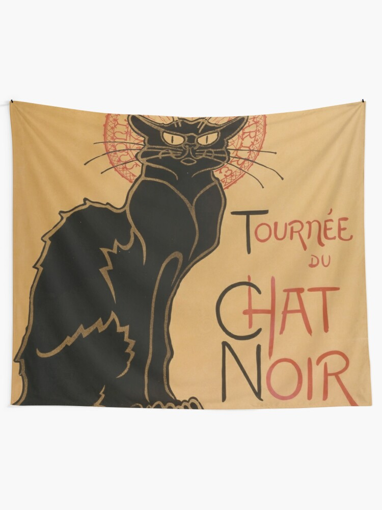 Alternate view of Le Chat Noir The Black Cat Poster by Théophile Steinlen Tapestry