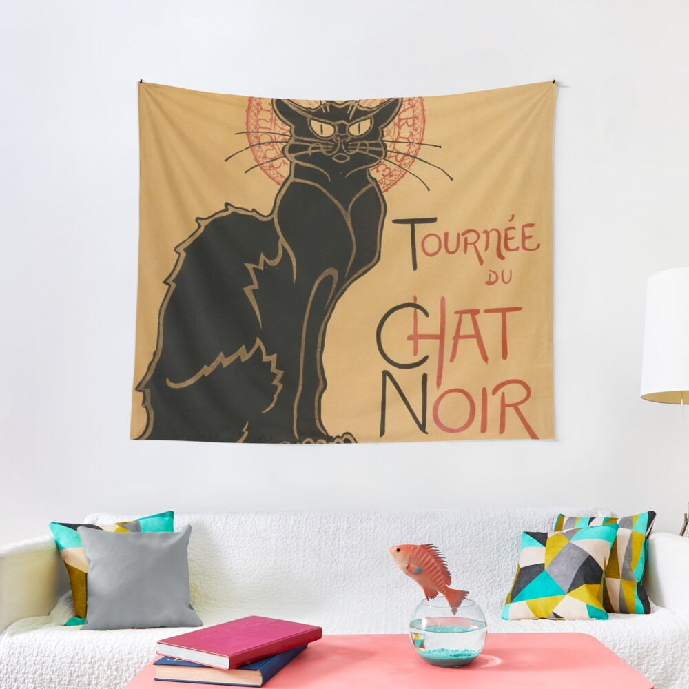 Le Chat Noir The Black Cat Poster by Théophile Steinlen Tapestry