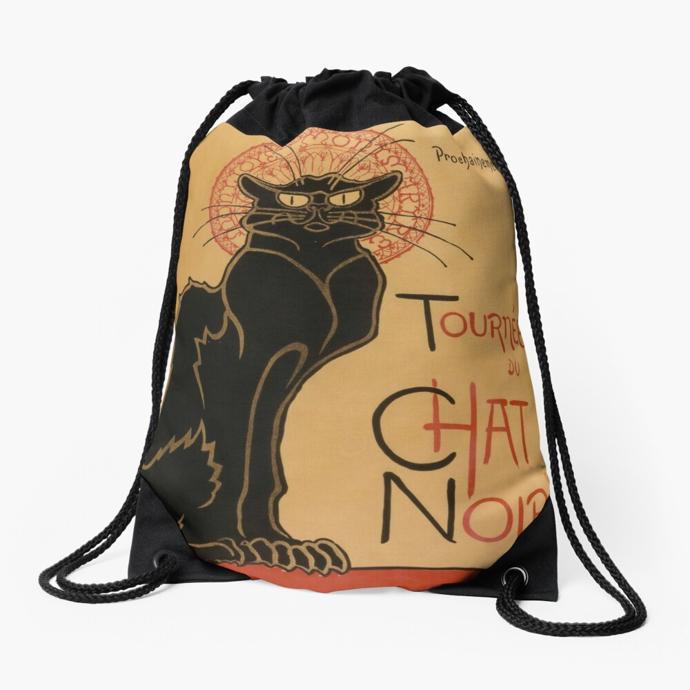Le Chat Noir The Black Cat Poster by Théophile Steinlen Drawstring Bag
