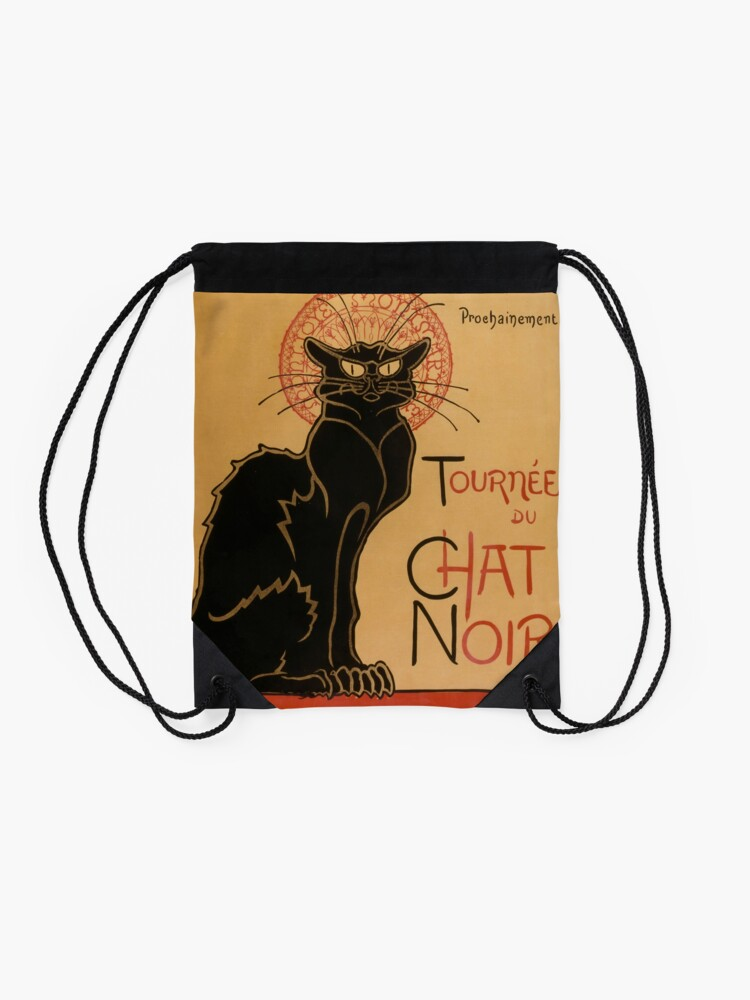 Alternate view of Le Chat Noir The Black Cat Poster by Théophile Steinlen Drawstring Bag