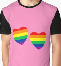 Two hearts made from gay pride flag on pink. Graphic T-Shirt