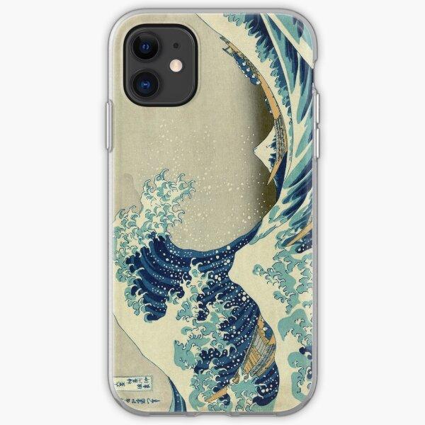 est une gravure sur bois de l'artiste japonais ukiyo-e Hokusai. Il a été publié entre 1830 et 1833 et est l'une des œuvres d'art japonais les plus reconnues au monde. Il représente une énorme vague menaçant des bateaux au large des côtes de Kanagawa. Bie Coque souple iPhone