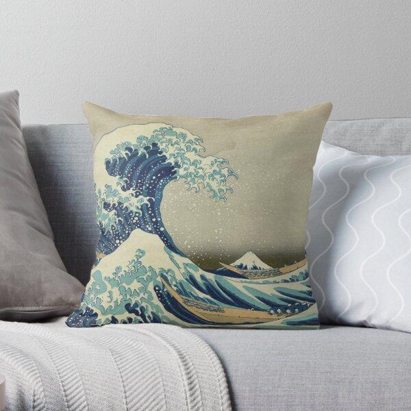 The Classic Japanese Great Wave off Kanagawa by Hokusai Throw Pillow