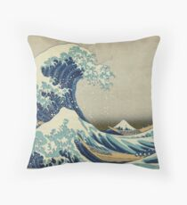 The Classic Japanese Great Wave off Kanagawa by Hokusai Throw Pillow