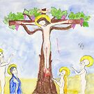 Crucifixion with vine tree by Ina Mar