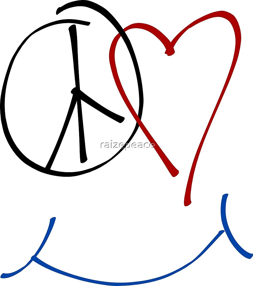 Peace Love And Happiness Symbol By Raizepeace Redbubble