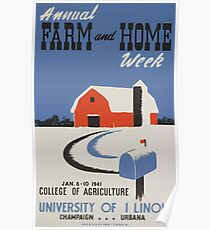 WPA United States Government Work Project Administration Poster 0446 Annual Farm and Home Week College of Agriculture University of Illinois Poster