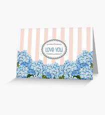 Purple Blue Hydrangea Florals Greeting Card