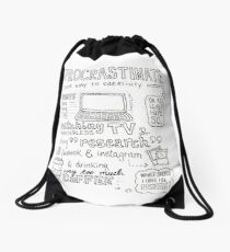 Procrastinate your way to creativity Drawstring Bag