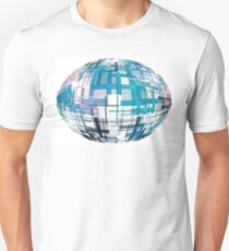 Azure abstract globe shape with checkered pattern on white background. T-Shirt