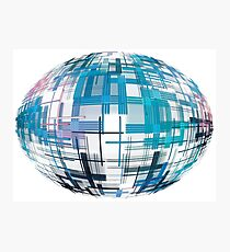 Azure abstract globe shape with checkered pattern on white background. Photographic Print