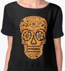 Sugar Skull SF Halloween on blk Chiffon Top