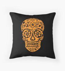 Sugar Skull SF Halloween on blk Throw Pillow