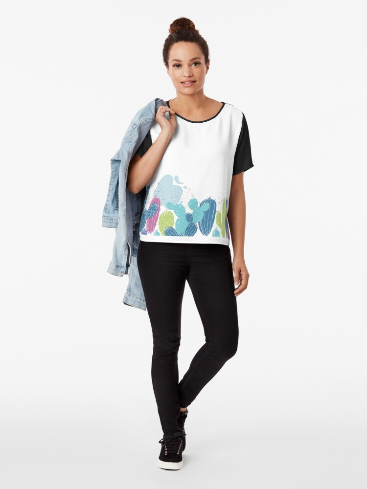 Alternate view of Colorful cactuses pattern Chiffon Top