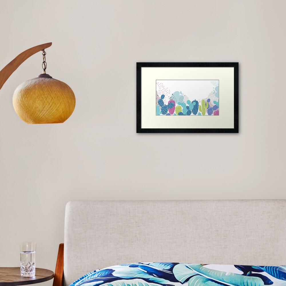 Colorful cactuses pattern Framed Art Print