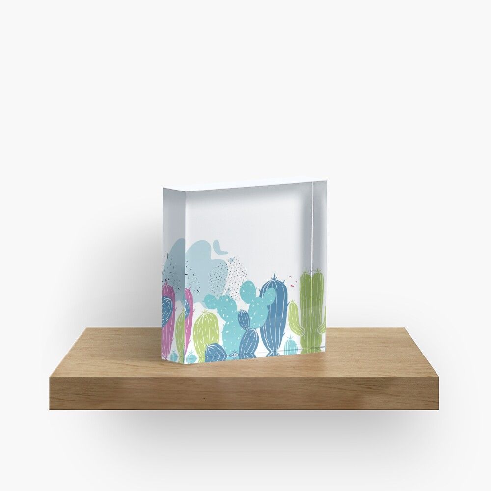Colorful cactuses pattern Acrylic Block