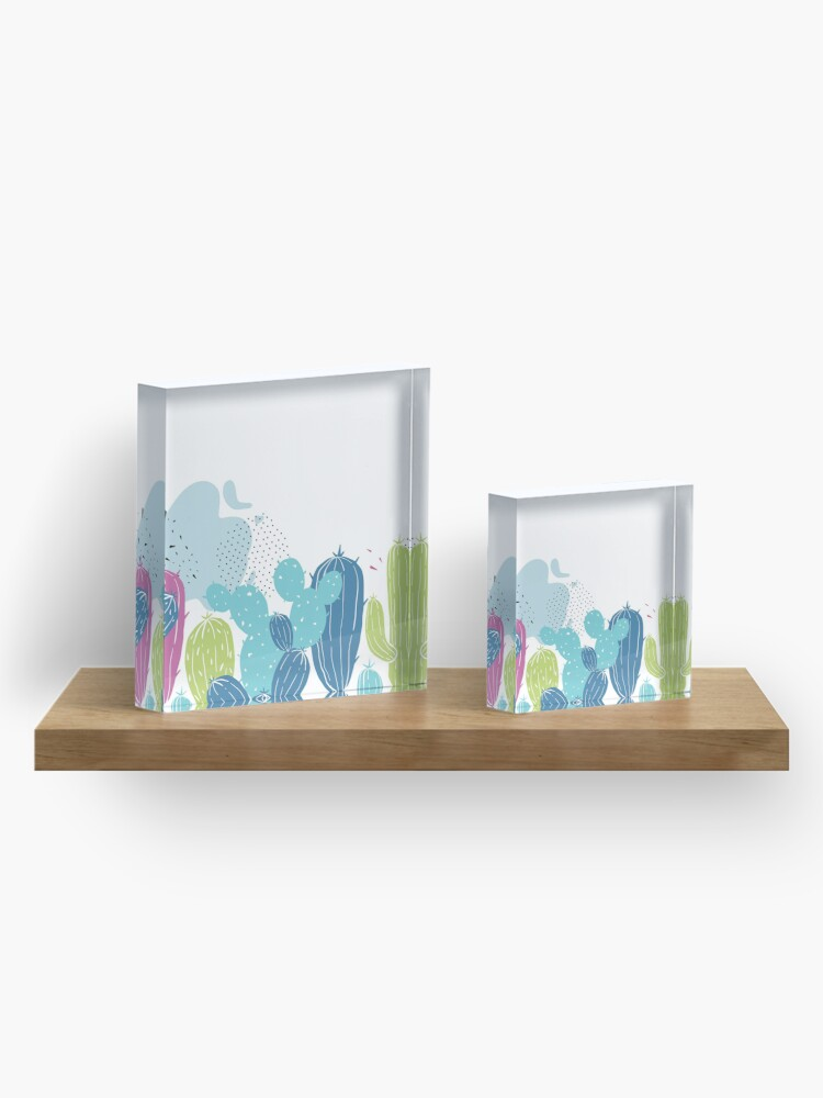 Alternate view of Colorful cactuses pattern Acrylic Block