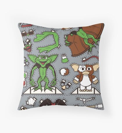 Dress up Gizmo and Gremlin Throw Pillow