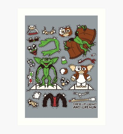Dress up Gizmo and Gremlin Art Print