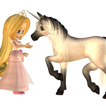 Cute Toon Fairytale Princess and Unicorn by algoldesigns