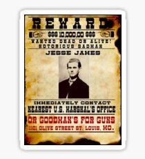 JESSE JAMES : Vintage Wanted Badman Poster Sticker