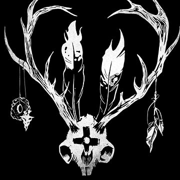 Ceremonial Jackalope Skull with Feathers by ThatBenWalker