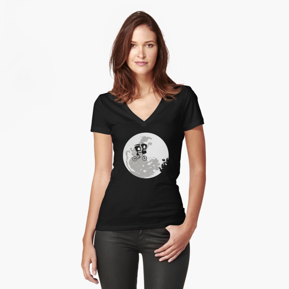 Dib and the E.T Women's Fitted V-Neck T-Shirt Front