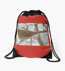 redbird in snow Drawstring Bag