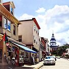 Annapolis MD - Shops on Maryland Avenue and Maryland State House by Susan Savad