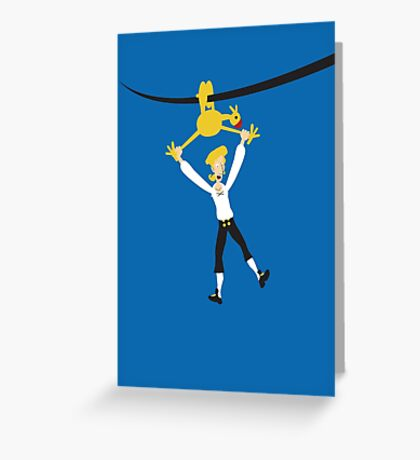 Rubber chicken with a pulley in the middle Greeting Card