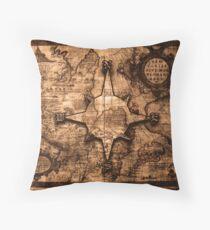 Ancient World Traveler - Map & Compass Rose Throw Pillow
