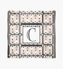 1920s Pink Champagne Deco Monogram letter C Scarf