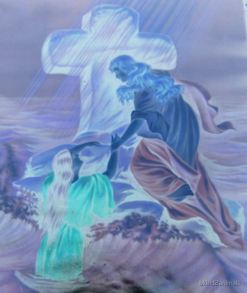 Angel saving lady in water altered art from a childs view by bkind2animals