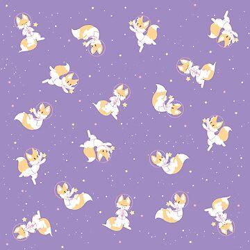 Space Fox Pattern - Lavender by WWFoxStudio
