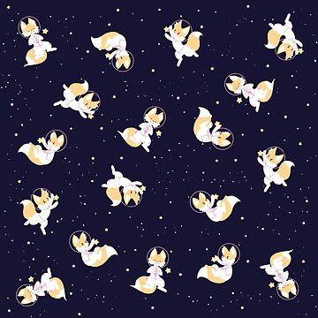 Space Fox Pattern - Navy by WWFoxStudio