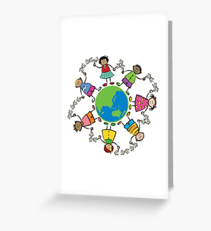Happy Friends Around the World - ASIA and OCEANIA Greeting Card