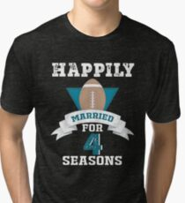 Funny T-shirt For Couples, Cool 4th Wedding Anniversary Gift For Men Tri-blend T-Shirt