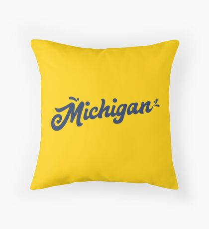 Michigan Hand Lettering Throw Pillow