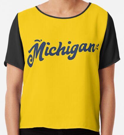Michigan Hand Lettering Chiffon Top
