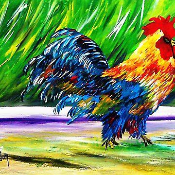 Feral Kauai Rooster...Mahalo Iniki......... by kjgordon